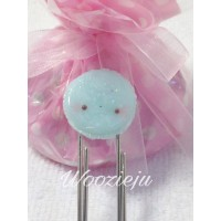 Handmade Polymer Clay Blue Macaroon Paperclip