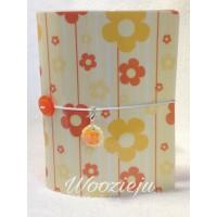 Woozie Ju Passport Size Faux-Dori with Insert & Charm - Yellow & Orange Flower
