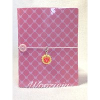 Woozie Ju Passport Size Faux-Dori with Insert & Charm - Pink Heart