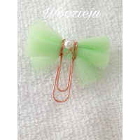 Handmade Tulle Bow Rose Gold Paperclip - Mint Green