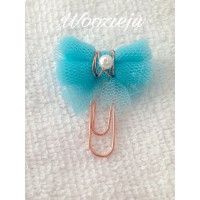 Handmade Tulle Bow Rose Gold Paperclip - Sky Blue
