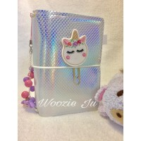 Woozie Ju Mermaid Faux-Dori Passport Size TN Traveller's Notebook - Holographic Silver