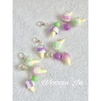 Blueberry, Mint & Strawberry Ice Creams Key Chain/Planner Charm