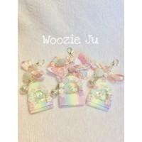 Pastel Rainbow Fairy Door Shaker Key Chain/Planner Charm