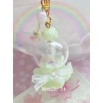 Pastel Green Flower/Heart Globe Shaker Charm