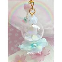 Pastel Blue Flower/Heart Globe Shaker Charm