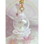 Pastel Purple Flower/Heart Globe Shaker Charm