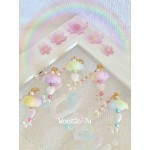 Rainbow Pastel Umbrella & Pearl Charm - Purple