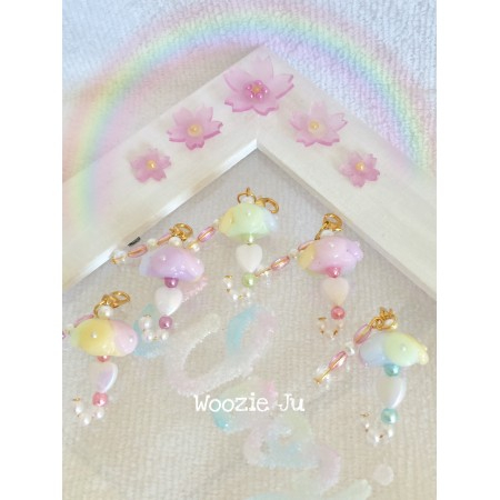 Rainbow Pastel Umbrella & Pearl Charm - Green