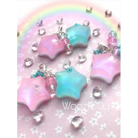 Holographic Pink & Blue Stars Charm