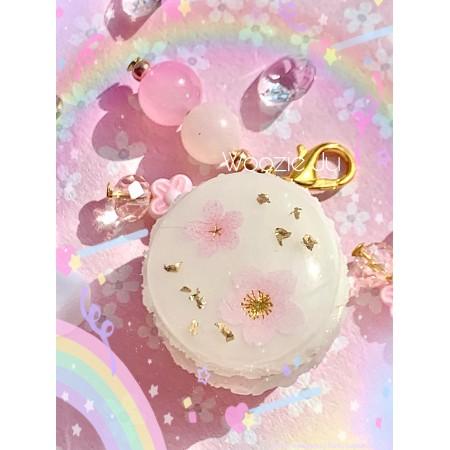 Pastel Flower Resin Sakura Macaron Charm (2 Small Blossoms)