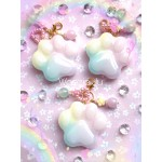 Rainbow Pastel Paw Resin Planner Charm/Key Chain