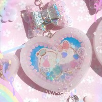 Ufufy Iridescent Resin Heart Shaker Planner Charm/Key Chain with Handmade Bow