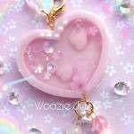 Sakura Resin Heart Shaker Planner Charm/Key Chain