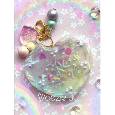 Pastel Sprinkles Rainbow Resin Heart Liquid Shaker Charm