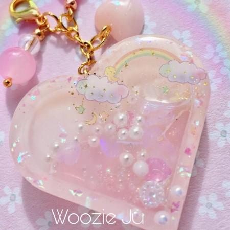 Dreamy Little Twin Stars Resin Heart Shaker Planner Charm/Key Chain