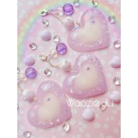 Pastel Purple Sparkling Resin Hearts