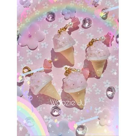 Sakura Ice Cream Cone Planner Charm/Key Chain