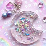 Pastel Sprinkles Clear Resin Moon Liquid Shaker Charm