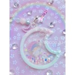 Dreamy Little Twin Stars Resin Moon Shaker Planner Charm/Key Chain