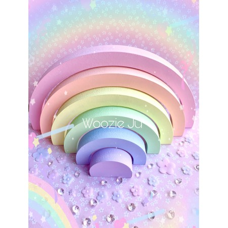Hand Painted Stacking Wooden Pastel Rainbows - CURRENTLY 2 IN STOCK!