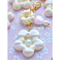Iced Flower Clay Cookie Biscuit Key/Planner Charm