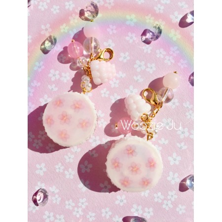 Pastel Flower Iridescent Resin Sakura Macaroon Charms