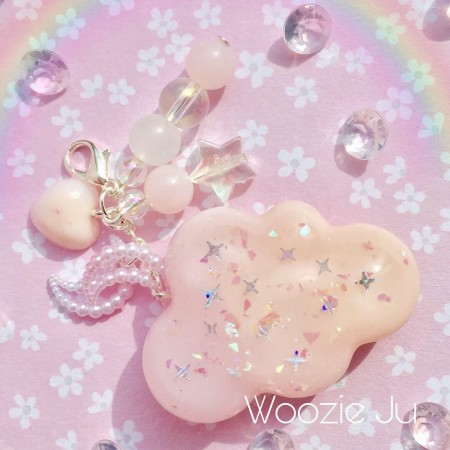 Pastel Pink & Peach Resin Cloud Planner Charm/Key Chain