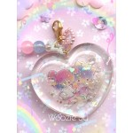 Little Twin Stars Clear Resin Heart Shaker Charm
