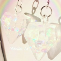 Iridescent Clear Resin Gem Earrings