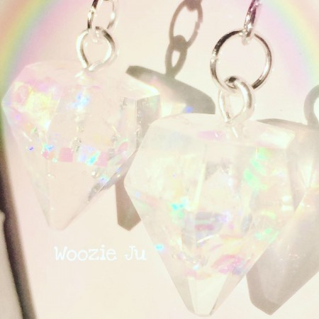 Iridescent Clear Resin Gem Earrings